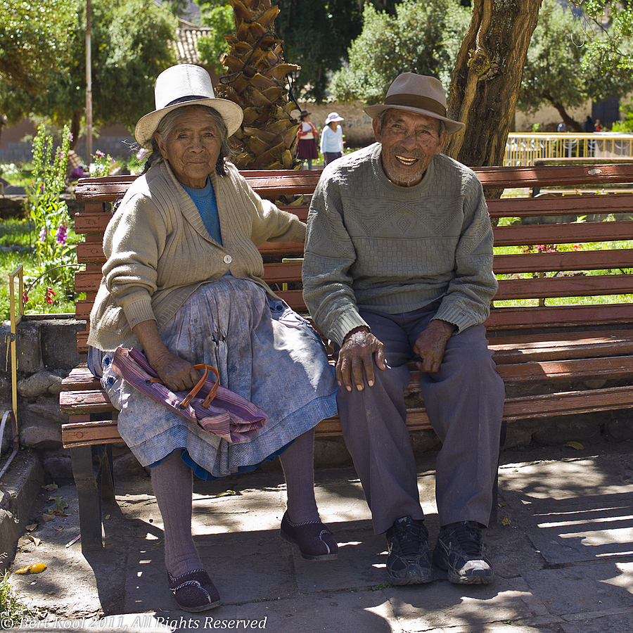 Old Couple in Park, Andahuaylillas, Peru | LEICA SUMMILUX 35MM F1.4 ASPH <br> Click image for more details, Click <b>X</b> on top right of image to close