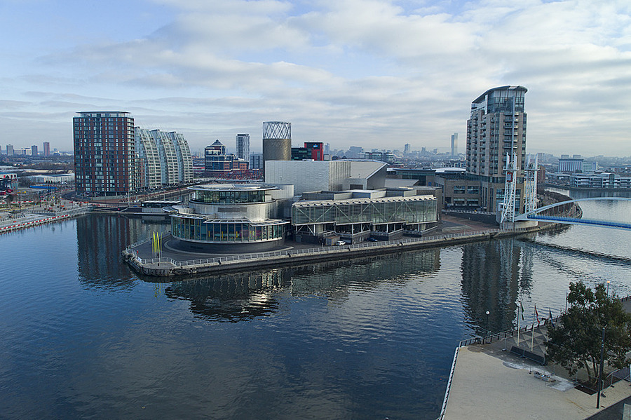 Lowry Centre Salford Quays from Imperial War Museum North Tower | LEICA TRI-ELMAR 28-35-50MM F4 ASPH <br> Click image for more details, Click <b>X</b> on top right of image to close