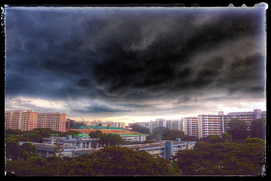 sunset Storm, Singapore. | LENS MODEL NOT SET <br> Click image for more details, Click <b>X</b> on top right of image to close