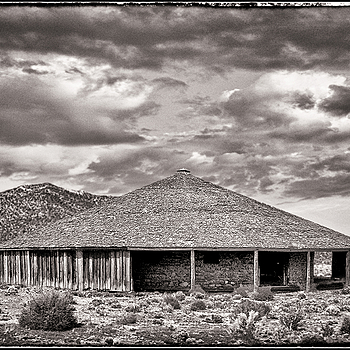 Round barn, Nevada high desert BW