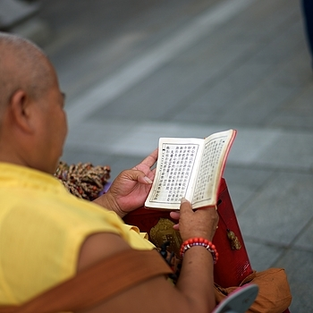 Bhuddist monk reciting her daily prayers | SUMMILUX-M 1:1.4/50 ASPH