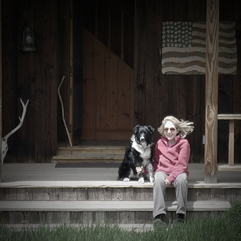 woman and her dog | LENS MODEL NOT SET