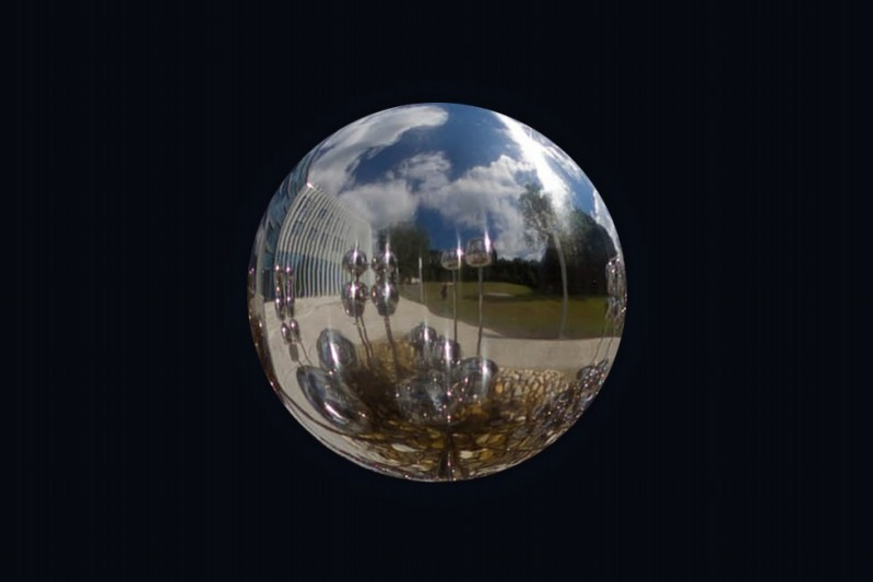 Reflection in a single sphere | LENS MODEL NOT SET <br> Click image for more details, Click <b>X</b> on top right of image to close