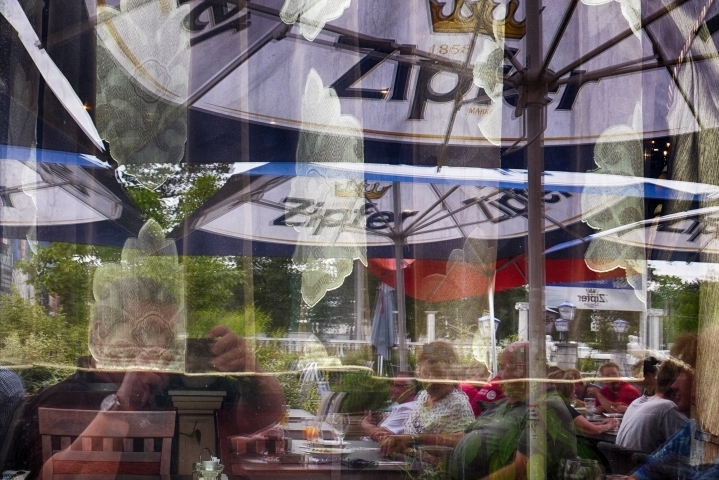 Reflection in the garden of a restaurant | LENS MODEL NOT SET <br> Click image for more details, Click <b>X</b> on top right of image to close