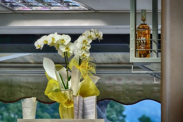 White orchids and brandy | LENS MODEL NOT SET <br> Click image for more details, Click <b>X</b> on top right of image to close