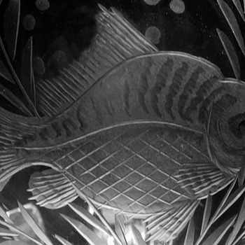An engraved carp on glass | LENS MODEL NOT SET