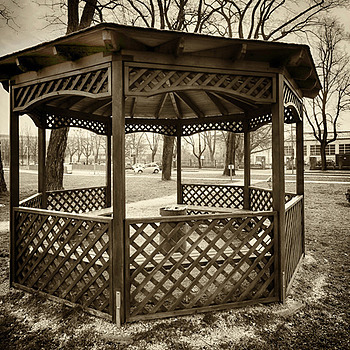 Old wooden pavilion | LENS MODEL NOT SET