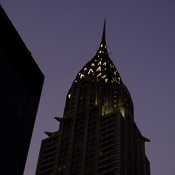 Chrysler at dusk | LENS MODEL NOT SET <br> Click image for more details, Click <b>X</b> on top right of image to close
