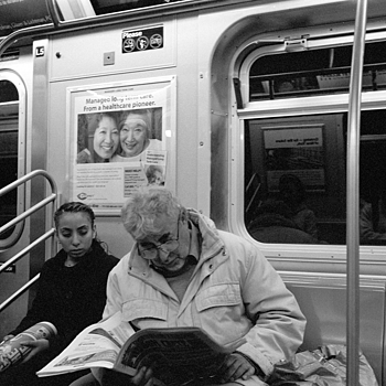 subway riders, brooklyn, ny | LEICA SUMMICRON 50MM F2 (RIGID) <br> Click image for more details, Click <b>X</b> on top right of image to close