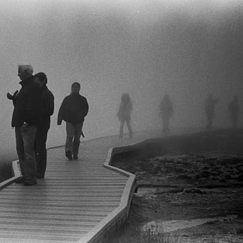 Walking in fog. | LEICA SUMMICRON 50MM F2 <br> Click image for more details, Click <b>X</b> on top right of image to close