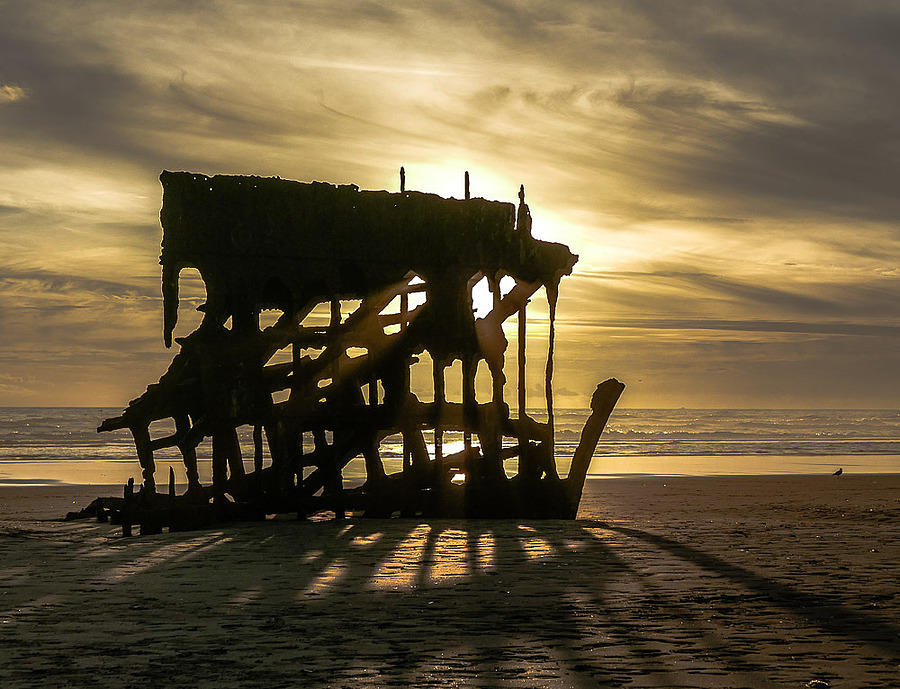 Old Shipwreck at Sunset | LENS MODEL NOT SET <br> Click image for more details, Click <b>X</b> on top right of image to close