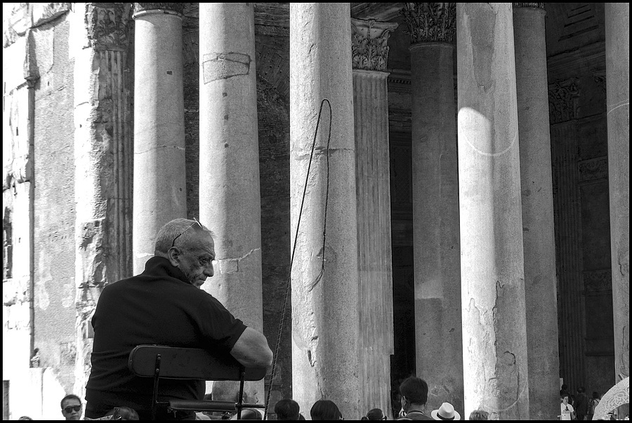 Vetturino (wheelchair driver) at the Pantheon | LENS MODEL NOT SET <br> Click image for more details, Click <b>X</b> on top right of image to close