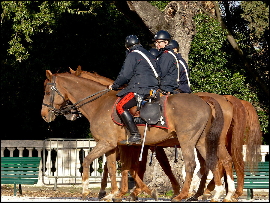 Carabinieri a Cavallo a villa Borghese | LENS MODEL NOT SET <br> Click image for more details, Click <b>X</b> on top right of image to close