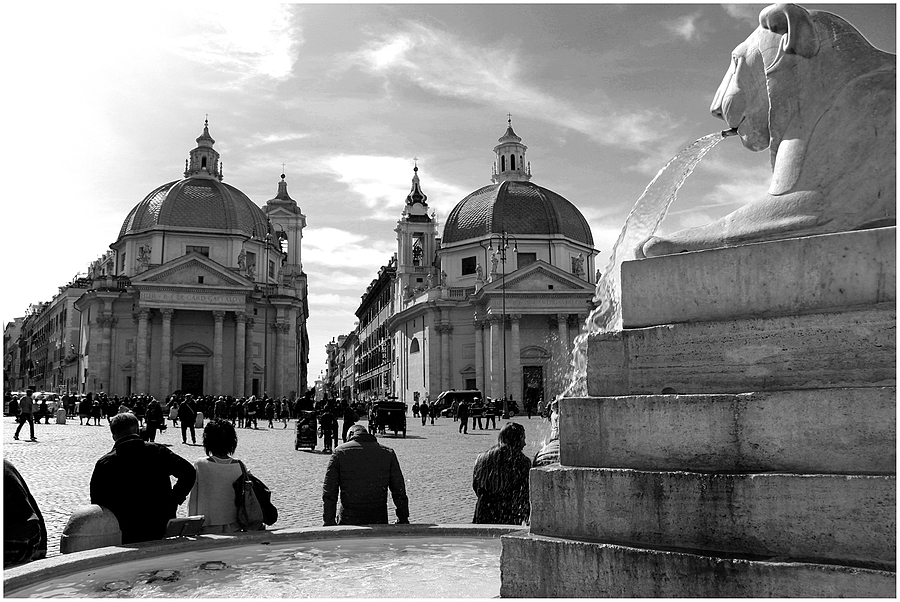 The twin churches of Piazza del Popolo | LENS MODEL NOT SET <br> Click image for more details, Click <b>X</b> on top right of image to close