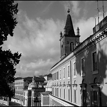 The skies of Rome:bel tower of Santa Maria del Popolo | DC VARIO-ELMARIT 1:2.8/4.5-108 ASPH <br> Click image for more details, Click <b>X</b> on top right of image to close