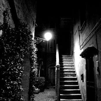 Nazzano Romano: The citadel's alley by nyght | LENS MODEL NOT SET <br> Click image for more details, Click <b>X</b> on top right of image to close