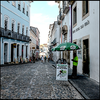 Salvador da Bahia: a vendor of drinks at the entrance of the Cultural Solar Ferrao Center | LENS MODEL NOT SET <br> Click image for more details, Click <b>X</b> on top right of image to close