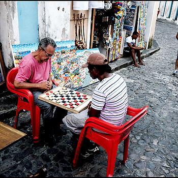 Salvador da Bahia: the game of the lady, intersection of rua Marciel de Baixo and rua Joao de Deus. | LENS MODEL NOT SET <br> Click image for more details, Click <b>X</b> on top right of image to close