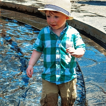 Wading in the fountain