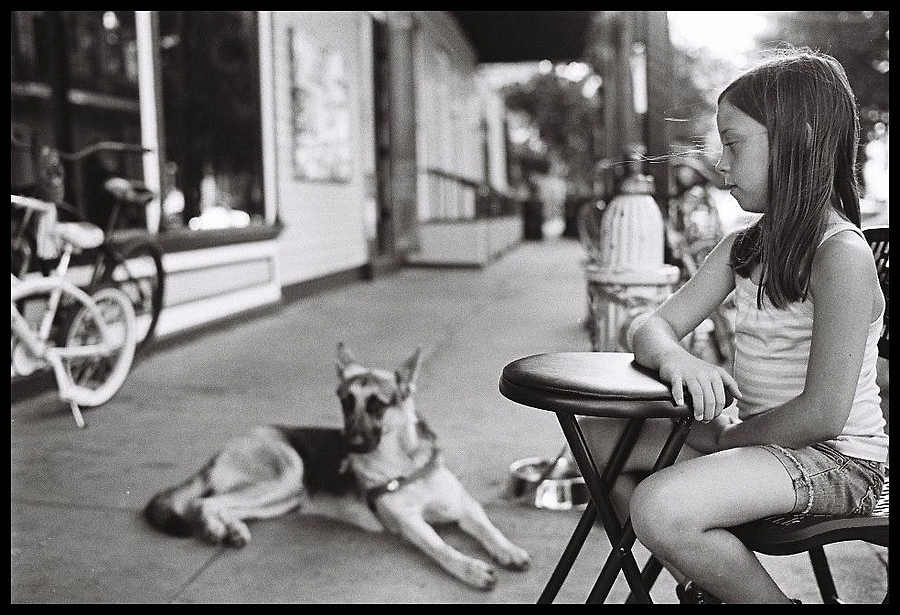 Girl & her dog, Marigny - New Orleans | LENS MODEL NOT SET <br> Click image for more details, Click <b>X</b> on top right of image to close