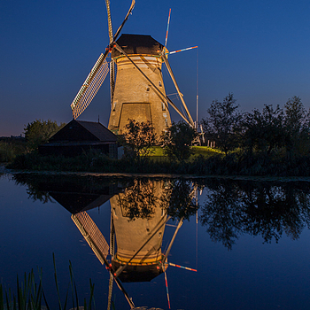 Lighted Windmill in Kinderdijk, The Netherlands | LEICA 35MM F/1.4 SUMMILUX <br> Click image for more details, Click <b>X</b> on top right of image to close