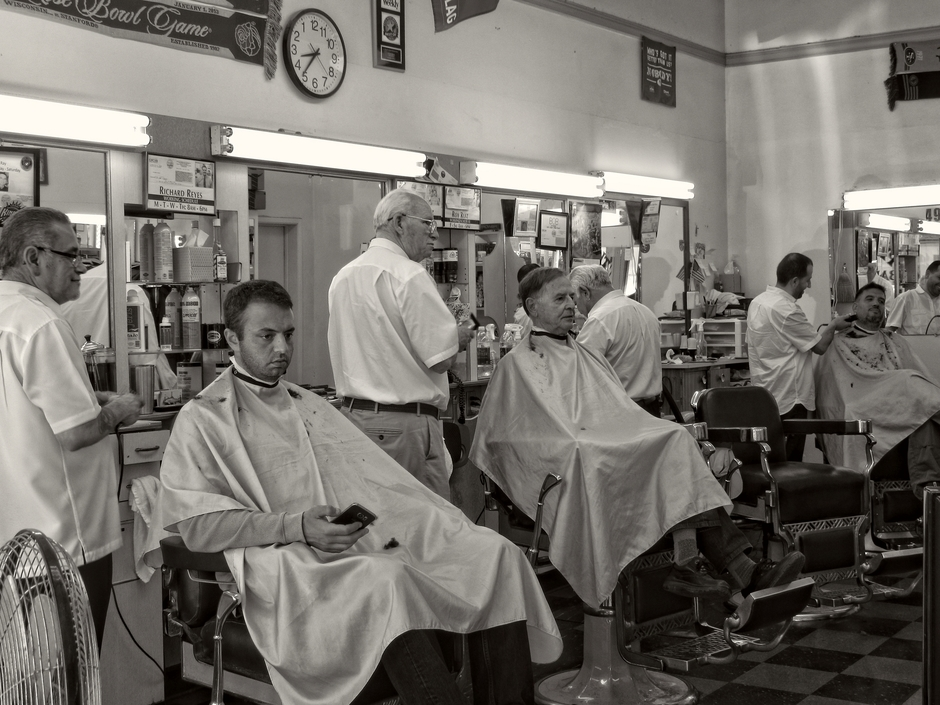 At the Barber | LENS MODEL NOT SET <br> Click image for more details, Click <b>X</b> on top right of image to close