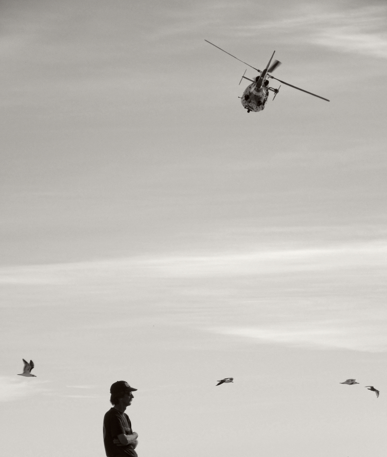 Man with Seagulls & Helicopter | LENS MODEL NOT SET <br> Click image for more details, Click <b>X</b> on top right of image to close
