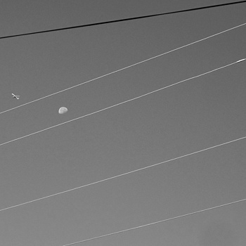 Moon, Plane and Power Lines | LENS MODEL NOT SET <br> Click image for more details, Click <b>X</b> on top right of image to close
