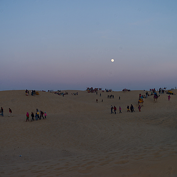 Moonrise on the Sam, Jaisalmer, India