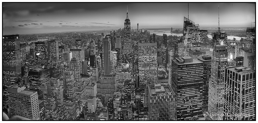 Top of the Rock- Panoramic BW | LEICA ELMARIT 28MM F2.8 ASPH <br> Click image for more details, Click <b>X</b> on top right of image to close