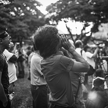 Passionate chap at Labour Day protest Singapore | LENS MODEL NOT SET <br> Click image for more details, Click <b>X</b> on top right of image to close