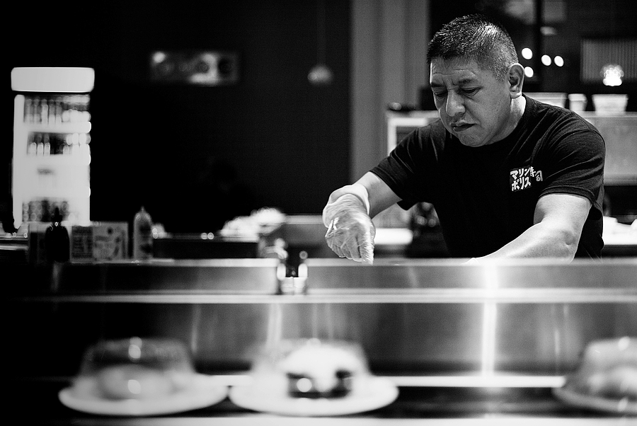The Kaiten Sushi Chef | LEICA 50MM F/2.0 SUMMICRON 2ND  VERSION <br> Click image for more details, Click <b>X</b> on top right of image to close