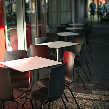A row of empty tables