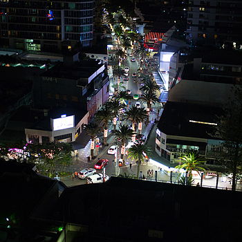 Night scene at the Gold Coast