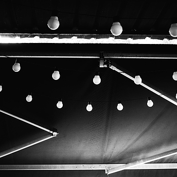 Light bulbs on an awning
