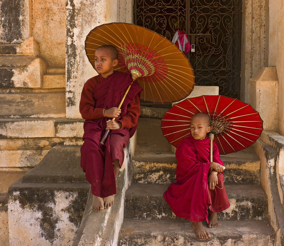 Aspiring Monks In Bagan | ZEISS ZM C-BIOGON F2.8 35MM <br> Click image for more details, Click <b>X</b> on top right of image to close