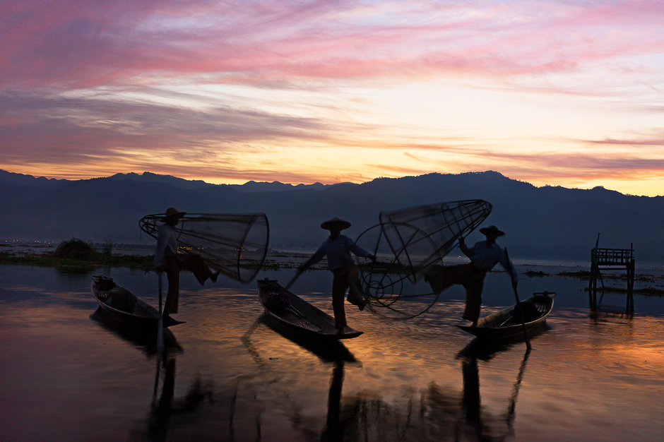 Inle Lake Fishermen Trio | ZEISS ZM C-BIOGON F2.8 35MM <br> Click image for more details, Click <b>X</b> on top right of image to close