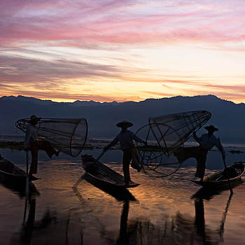 Inle Lake Fishermen Trio | ZEISS ZM C-BIOGON F2.8 35MM
